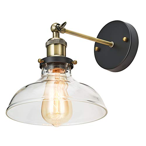Home Luminaire 31681 Becker 1-Light Adjustable Sconce with Clear Glass Barnyard Shade Antique Brass/Bronze Finish