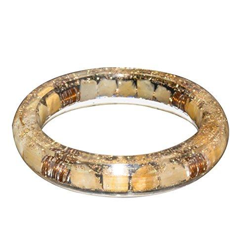 FASHIONZAADI Citrine Gemstone Orgone Crystal Bangle for Stone Chakra Balancing EMF Protection Reiki Women Jewelry Size 2.5 Inch Approx