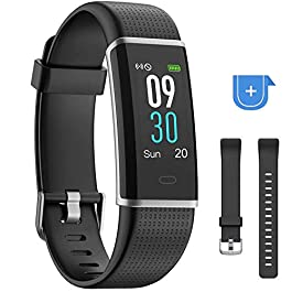 YAMAY Fitness Tracker with Heart Rate Monitor, Fitness Watch Activity Tracker Smart Watch with Sleep Monitor 14 Sports Mode,Pedometer Watch for Kids Men Women (Color Screen,IP68 Waterproof)