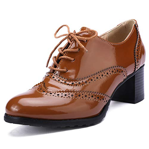 Odema Womens PU Patent Leather Oxfords Brogue Wingtip Lace Up Chunky High Heel Shoes Dress Pumps ()