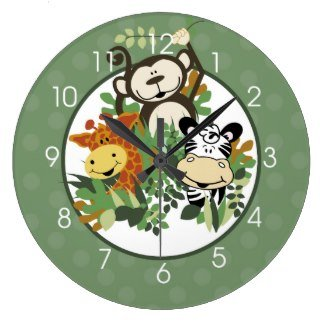 Jungle Safari Zebra, Monkey, Giraffe Round Wall Clock