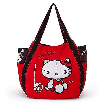 54fe77477 Amazon.com: Sanrio Hello Kitty Black and Red Canvas Tote Bag ...