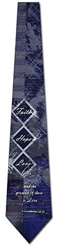 Faith Hope Love Diamond Religious Ties Inspirational Mens Necktie
