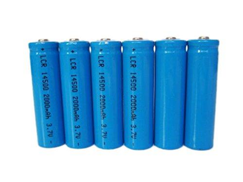 ON THE WAY®6Pcs 2000mah ICR 14500 3.7v AA Rechargeable Li-i