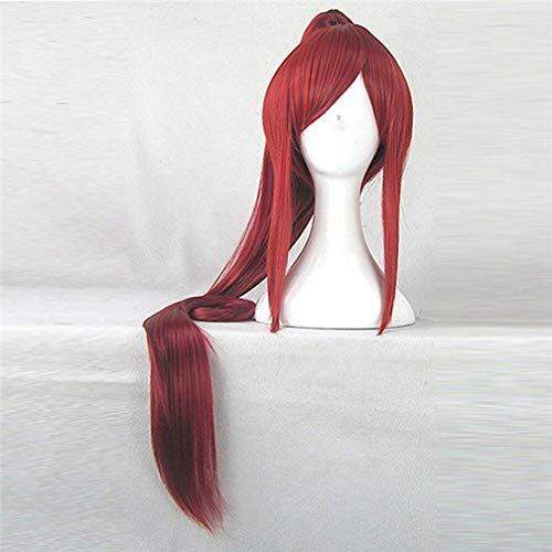 MDHTT Wig Hair Anime Fairy Tail Erza Scarlet 100Cm Long Synthetic Hair Red Costume Wig Beautiful Perucas Cosplay Wig With1 Ponytail Halloween]()