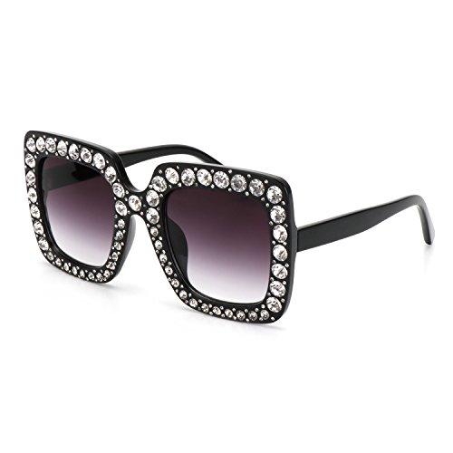 ROYAL GIRL Fashion Square Sunglasses For Women Oversized Designer Crystal Frame Sun Glasses(Black White Crystal Frame, - Shades Cute