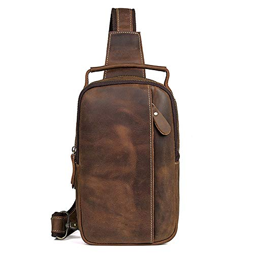 Chest Large Business Anti Everyday Capacity Pack Brown Leather Brown Backpack color Sports Asdflina For Use Carry Shoulder Cross theft Bag Suitable Casual Body Genuine Ix7dwIq