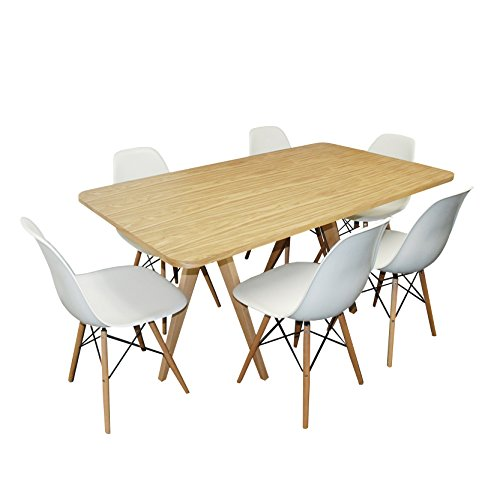 ModMade 7 Piece Twin Tower Dining Set, Natural Table/White Chairs by Mod Made