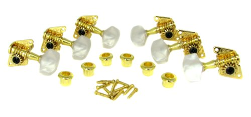 Cigar Head (Gold Open-Gear Acoustic Guitar Tuners/Machine Heads - 6pc. 3 Left / 3 Right)