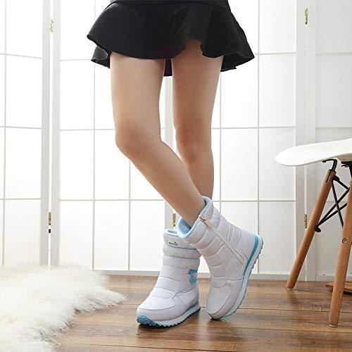 Invierno 35 Mujer Felpa Impermeable Botas Ligero Plateado Calzado Negro Zapatos Negro amp;rosado Caliente Esquiar Blanco Nieve Cremallera 41 Boots Botines Rq5Ux