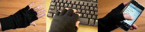 Black Pure 100% Cashmere Fingerless Half Finger Gloves by Feeling Pampered (Image #3)