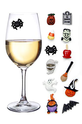 Halloween Wine Charms Set of 12 Magnetic Drink Markers & Tags for Stemless Glasses, Beer Mugs, Champagne Flutes and More -