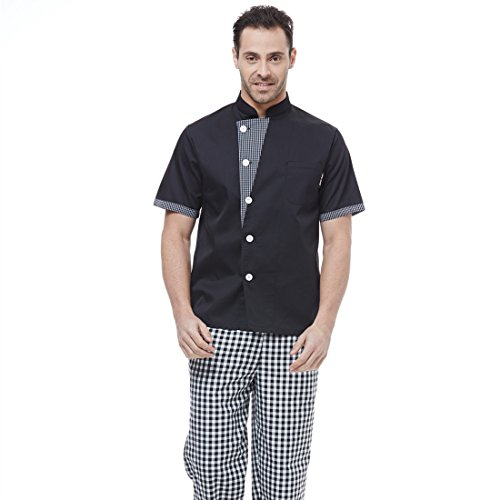JXH Chef Uniforms men's plaid collar short sleeve - Camo Chef Coat