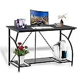 Adjustable Desktop Computer Writing Desk Laptop Table, Modern Simple Home Office Desk Adjustable Height Free Lift Shaving Board Steel Frame Table Studying Reading Desk with Open Tier Shelves (Black 1) Review