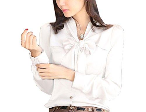a8a0fd43 Women's Tops Elegant Bow Blouse Short/Long Sleeve Korean Work Shirt ...