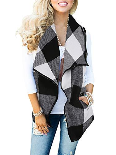 Womens Vest Jacket - Geckatte Womens Sleeveless Plaid Vest Lapel Cardigan Open Front Jacket with Pockets