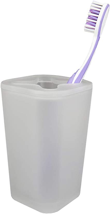 NWT Room Essentials Plastic Toothbrush Holder Frosted White