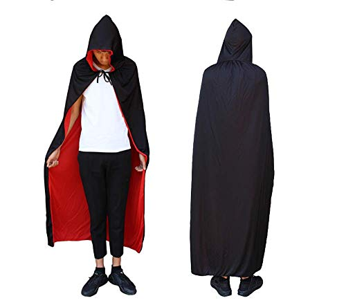 Black Red Reversible Vampire Cape Masquerade Halloween Gothic Style with Hat Cloak Children and Adults (Big -150cm) ()