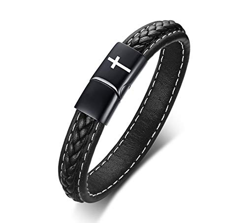 MPRAINBOW Stainless Steel Cross Symbol Juses Prayer Leather Cuff Bracelet for Men Religious Gift for Men