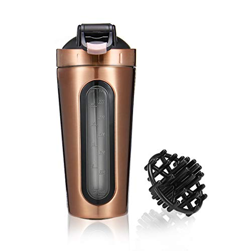 Slimerence Protein Shaker Bottle, Stainless Steel Mixer Bottle with Visual Window, Dishwasher Safe Leak Proof BPA Free Blender Cup for Gym Workout Fitness, 28oz Rose Gold Review