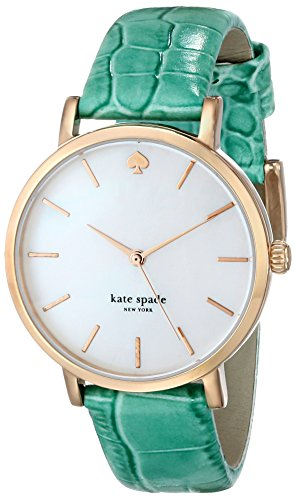 kate spade new york Women's 1YRU0497 Metro Rose Gold-Plated Watch with Green Leather Band