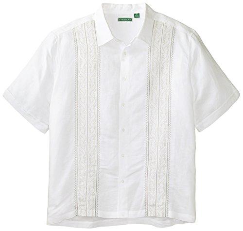 Cubavera Men's Big-Tall Short Sleeve Print and Ornate Embroidery Panels Shirt, Bright White, 4X