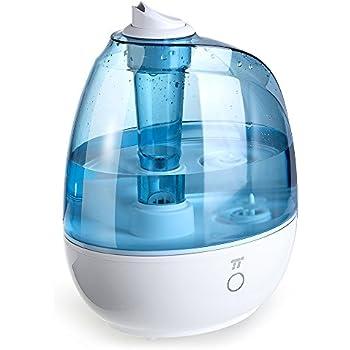 TaoTronics Humidifier, 2L Cool Mist Ultrasonic Humidifiers for Babies Bedroom, Zero Disturb Sleep Mode, Filter Free and Whisper Quiet, BPA FREE- US Plug 110V