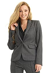 Rekucci Collection Women\'s One Button Tailored Stretch Wool Suit Jacket (14,Grey Glencheck)