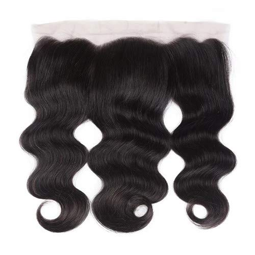 10 Inch Body Wave Lace Frontal Closure With Bangs Baby Hair, Brazilian Virgin Human Hair Ear To Ear 13 x 4 Body Wave Lace Frontals Natural Black Color(10 Inch Frontal)