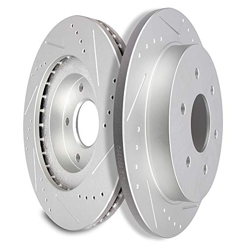 (SCITOO Brake Rotors, Rear Slotted Rotors Brake Discs Brakes Kit fit 2004-2010 Infiniti QX56,2005-2010 Nissan Armada,2004-2015 Nissan Titan Compatible with 120.42081 31329)