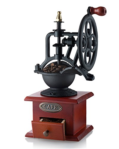 (Gourmia GCG9315 Manual Coffee Grinder Antique Cast Iron Hand Crank Coffee Mill With Grind Settings & Catch Drawer 12.5 x 12.5 x 26)