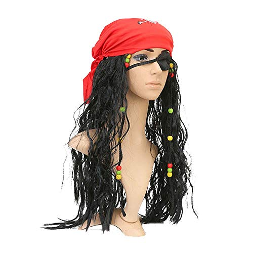 Fun Costumes Realistic Caribbean Pirate Jack Sparrow Black Braids Captain Wigs Headscarf Accessories Sets Halloween Masquerade (Red) ()