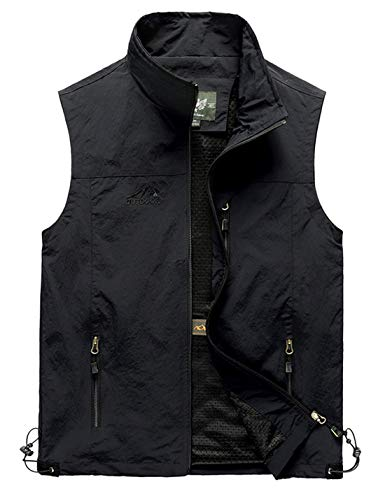 Yimoon Men's Outdoor Lightweight Fishing Safari Travel Zip Vest (Black, X-Large)