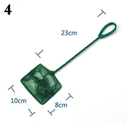 Yo acquario mesh rete da pesca metallo telaio retino con manico lungo per Betta Fish Tank Green 7 24*20*33CM vi