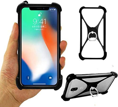 LANKASHI Negro Funda de Silicona Case Ring Stand Holder Dedo ...