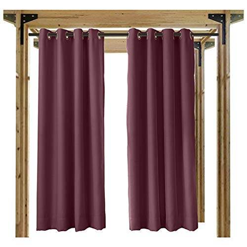 cololeaf Porch Curtains Outdoor Waterproof Patio Garden Outdoor Curtain/Exterior Shades/Blinds- Grommet Thremal Insulated Blackout Curtain Mildew Resistant - Burgundy 84'' Wx96 L Inch (1 panel) by cololeaf