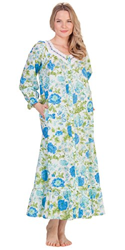La Cera Cotton Button-Front Long Robe/Nightgown in Tranquility Blossoms