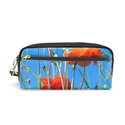 (Pencil Case Stylish Print Sky Poppies Flowers Red Flowering Light Field Art Pattern Large Capacity Pen Bag Makeup Pouch Durable Students Stationery Two Pockets with Double Zipper)
