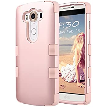 """LG V10 Case, ULAK 3 in 1 Shield Shock Absorbing Case with Hybrid Cover Soft silicone + Hard PC Material Design for LG V10 (5.7"""" inch) 2015 Release Rose Gold"""
