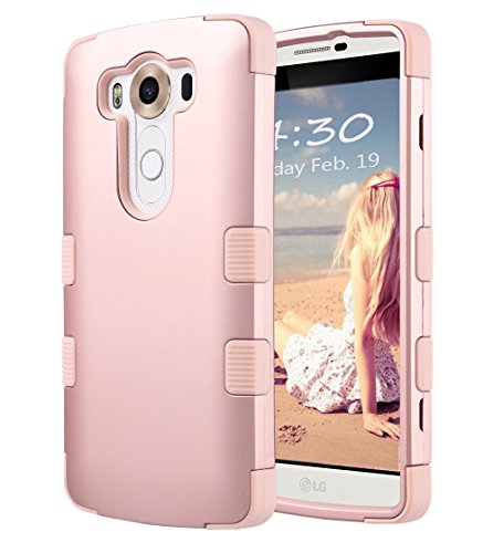 LG V10 Case, ULAK [3 in 1 Shield] Shock Absorbing Case with Hybrid Cover Soft silicone + Hard PC Material Design for LG V10 (5.7' inch) 2015 Release Rose Gold