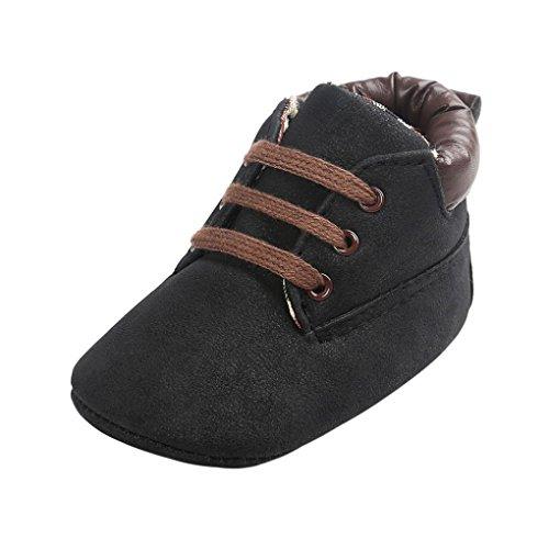 Ouneed® Krabbel schuhe , 2017 Herbst halten Baby Toddler Soft Sole anti skid Leather Shoes Infant Boy Girl Toddler Shoes Schwarz