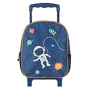 Idena 20068 – Rucksack Trolley mit 2 Glitter Rollen, für Kinder, dunkelblau mit stylischem Astronauten- und…