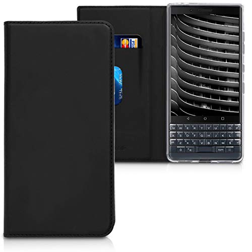 kwmobile Flip Case for BlackBerry KEYtwo LE (Key2 LE) - Smooth PU Leather Wallet Folio Cover with Stand Feature - Black Blackberry Leather Folio Case