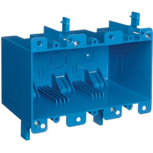 Carlon B355R Switch/Outlet Box, Old Work, 3 Gang, 5.72-Inch Length by 2.79-Inch Width by 3.69-Inch Depth, Blue, by Thomas & Betts