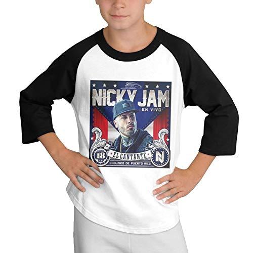 Sampaitary Boy's Nicky Jam Funny T-Shirt M Black