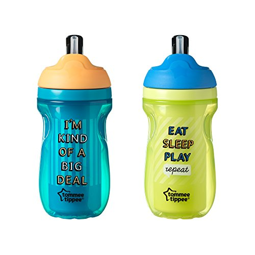 Tommee Tippee Insulated Flippee Straw Cup, 9 Ounce, 2 Count (Colors will vary) (Cup Sippy Feeding Collection)