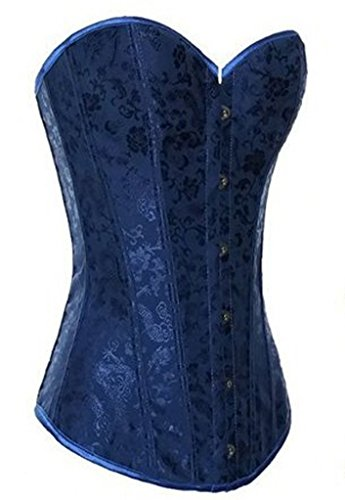 Alivila.Y Fashion Womens Corset Sexy Flower Tapestry Boned Bustier 2765-Blue-S