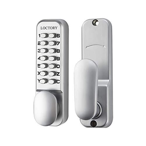 Combo Keyless Entry Lock - LOCTORY Mechanical Keyless Door Combo Lock Right Handed Keypad Digital Code Safety Entry Gate Home Storage Not Deadbolt (2-3/4