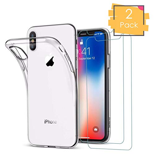 iPhone X case Clear, iPhone Xs Slim case 2018, w/ 2 Two Tempered Glass Screen Protectors Shockproof Bumper Transparent Silicon Ultra Thin Anti-Scratch - Silicone Case Screen Protector