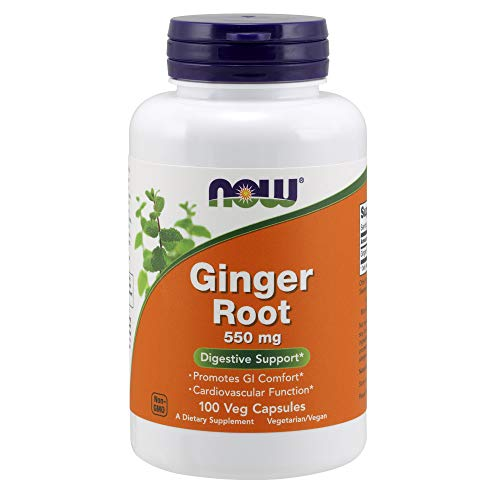 NOW Supplements, Ginger Root (Zingiber officinale)550 mg, 100 Veg Capsules (Best Cure For Upset Stomach And Vomiting)